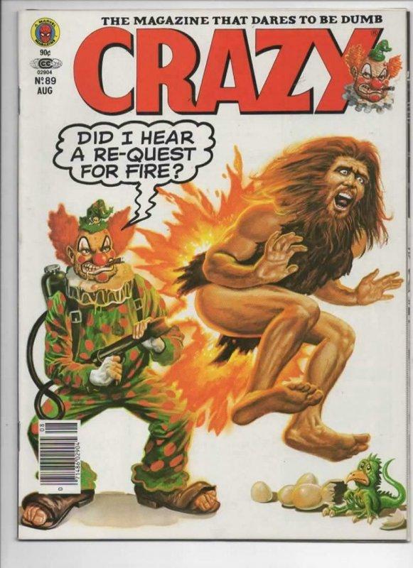 CRAZY #89 Magazine, VF+, Obnoxio the Clown, Burt Reynolds, 1973 1982, Marvel