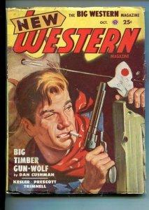 NEW WESTERN-OCT 1949-VIOLENT PULP FICTION-GUNFIGHT COVER-CUSHMAN-vg