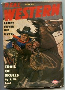 Real Western Pulp August 1944- Trail of Skulls FN-