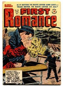 FIRST ROMANCE #28 comic book-1954-SPICY POSES-NICE ART-BOB POWELL INJURY TO EYE