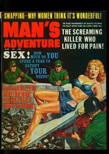 Man's Adventure Pulp Magazine June 1967- Snake Nazi Torture cover- VG