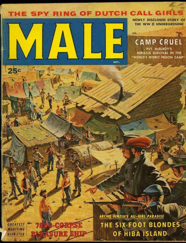 Male Pulp Magazine September 1958- Jill St John - Camp Cruel G