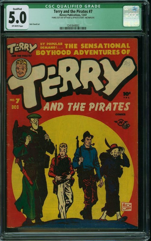 TERRY AND THE PIRATES #7 CGC 5.0 Qualified Harvey December 1947 -BOB POWELL Art-