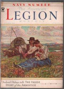 American Legion Monthly 11/1934-Harvey Dunn cover-Wallgren comic strip-VG