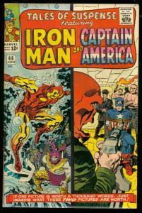 TALES OF SUSPENSE #66 1965-ORIGIN OF RED SKULL-IRON MAN VF