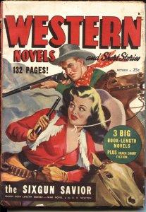 WESTERN NOVELS AND SHORT STORIES--OCT 1948-- -GUN GIRL COVER-- VIOLENT PULP T...