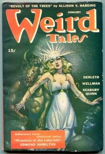Weird Tales January 1945- Brundage cover- Priestess of the Labyrinth F/VF