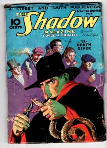 SHADOW 1933 May 15 Rattlesnake cover-STREET AND SMITH-RARE PULP vg