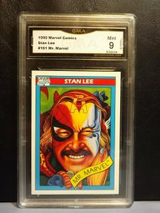 1990 Marvel Comics Trading Card #161 STAN LEE MR. MARVEL Graded MINT 9 RARE!!
