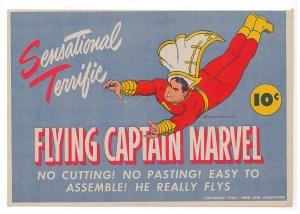 1944 Sensational Terrific Flying Captain Marvel glider, Vintage, unused