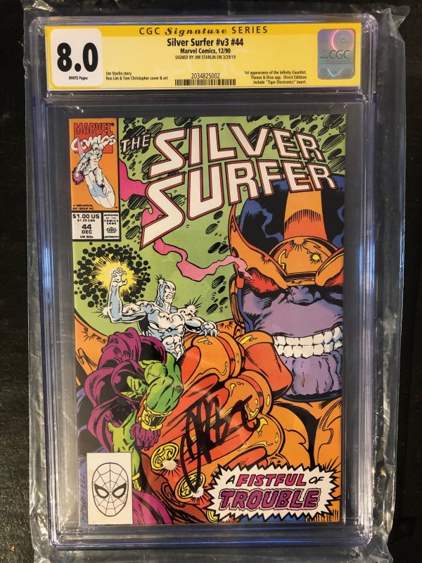 X-Men #107 CGC 8.0 Signed by Jim Starli - 1st App. of The Infinity Gauntlet