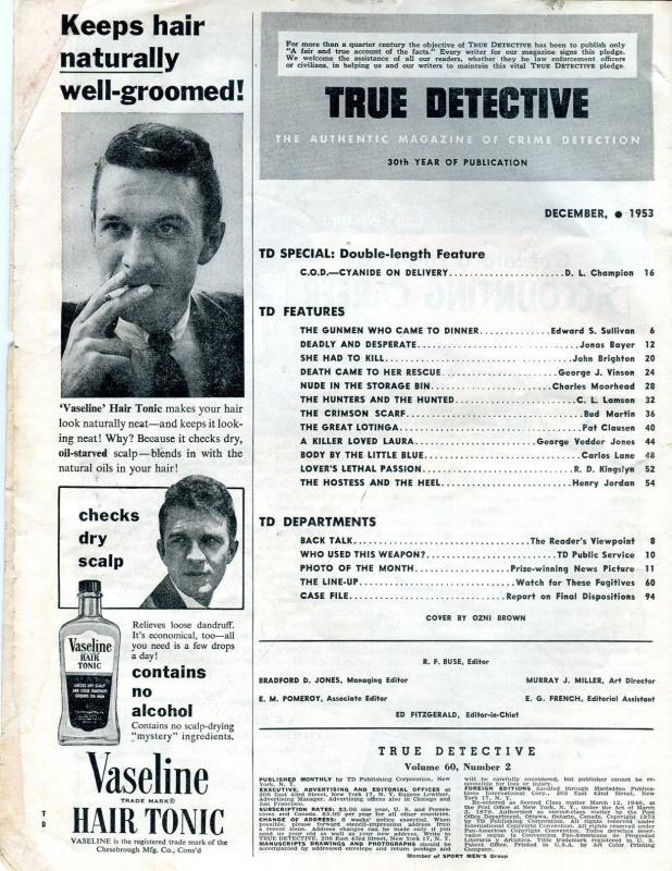 True Detective Magazine December 1953- DL Champion- torture cover