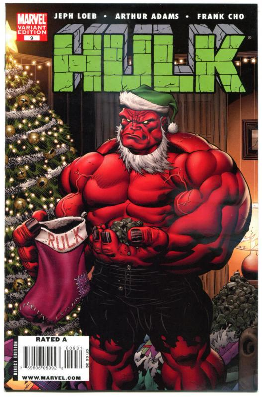 HULK #9, Variant, Jeph Loeb, Art Adams, NM, Frank Cho, 2008, Christmas, Xmas,Red