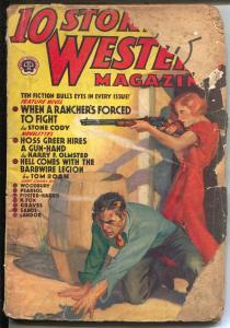 10 Story Western 4/1938-Popular-western pulp thrills-female gunfight-P/FR