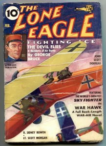 Lone Eagle Pulp February 1937- Devil Flies- Skyfighter War Hawk