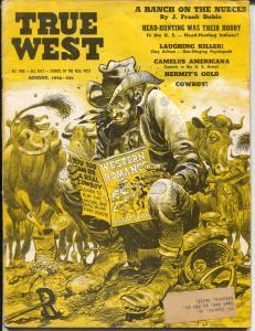True West 8/1956-EC-Jack Davis cover-Clay Allison-head hunting Indians-VG