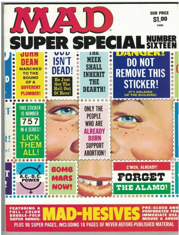 MAD SPECIAL (1975) 16 VF MAD HESIVE STICKERS
