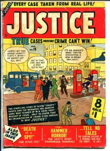 Justice #19 1951-Atlas-gas station-gas pumps-1st Thor appearance-VG