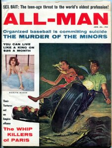 All Man Magazine June 1960- Motorcycle cover- Marlyn Maher- Sex Bait FN