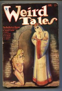 Weird Tales 1/1934-Hooded menace cover-Margaret Brundage-Pulp Magazine