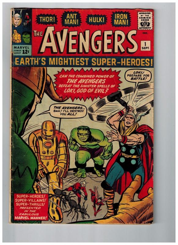 Avengers # 1 VG Marvel Comic Book 1st Appearance MASSIVE KEY Hulk Thor Wasp WT99