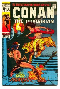 CONAN THE BARBARIAN #5 1971-TIGER COVER comic book fn