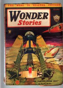 WONDER STORIES 1934 OCT-FRANK R PAUL-SCI FI PULP VG