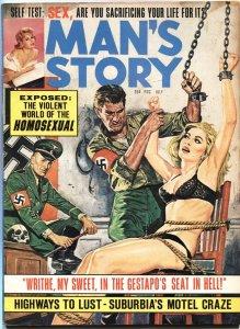 "MAN""S STORY 7/1965--GESTAPO TERROR TORTURE-BONDAGE--CHEESECAKE-PULP"