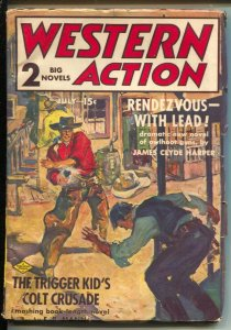 Western Action 7/1937-Double Action-gunfight cover-Trigger Kid-violent pulp f...