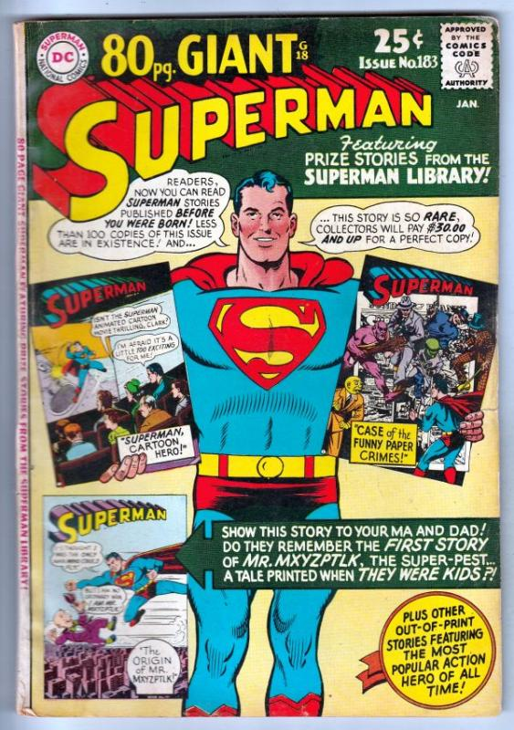 Superman #183 (Jan-66) FN Mid-Grade Superman