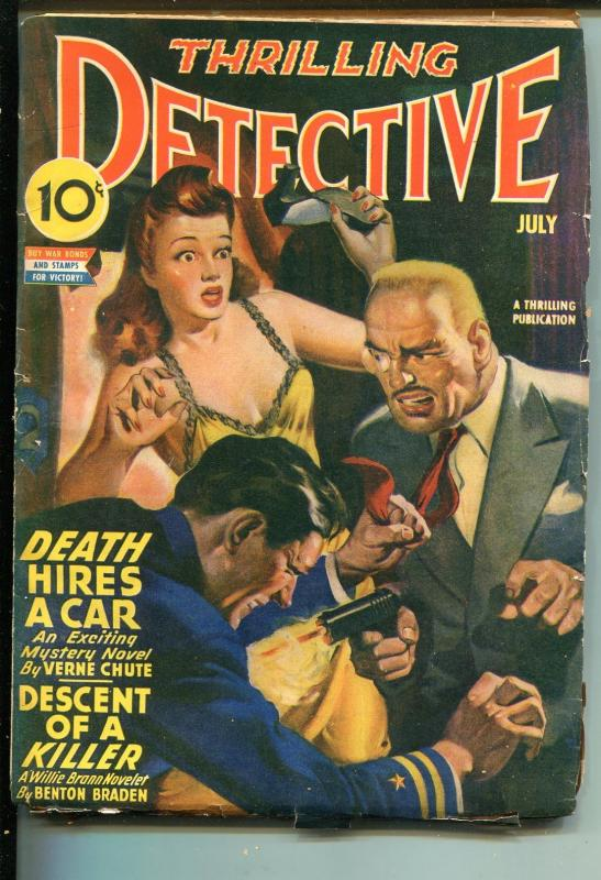 THRILLING DETECTIVE 07/1943-GUNFIGHT COVER-WWII-PULP FICTION-vg