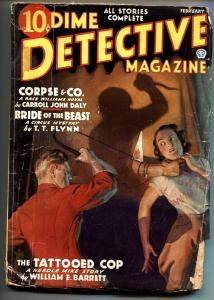 Dime Detective Pulp February 1936- Race Williams- Tattooed Cop- g