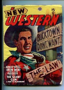 NEW WESTERN-JAN 1948-VIOLENT PULP FICTION-GUNFIGHT COVER-KJELGAARD-vg