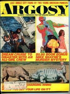 Argosy 4/1971-Mike Shayne-lost jungle city-pulp fiction-VG