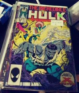 Incredible Hulk  # 337 nov 1987 MARVEL  GRAY HULK + x factor banner todd mcfarla