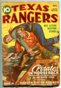 Texas Rangers Pulp August 1945- Jim Hattfield- Pirates on Horseback VG