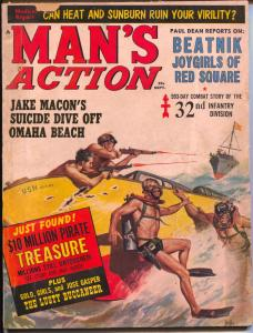 Man's Action 6/1962-Andar Pubs-Duillo skin diver cover-cheesecake-beatniks-G+