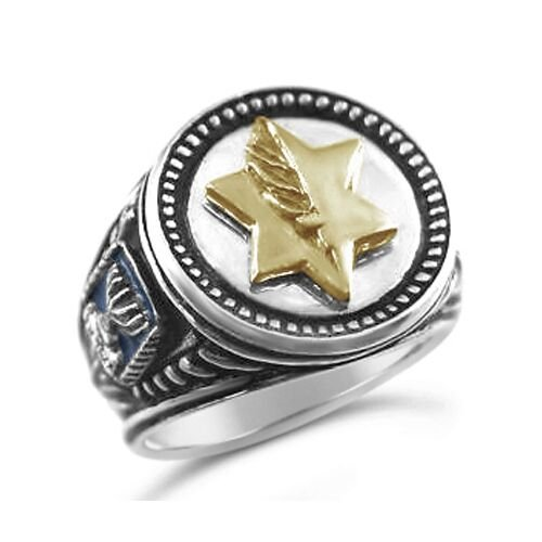 Israel Itur HaGvura10k star Medal of Valor Silver Coin ring