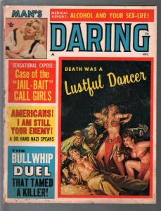 Man's Daring 10/1964-spicy Arab woman-jail-bait call girls-VG