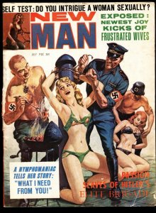 New Man July 1965-NORMAN SAUNDERS Nazi Branding cover-WILD!