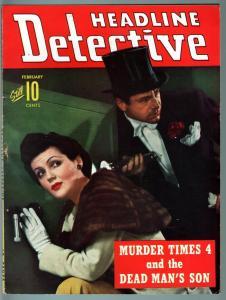 HEADLINE DETECTIVE 1943 FEB-VG-TRUE CRIME PULP MAG-FEMALE SAFE CRACKER CVR! VG