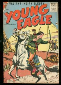 YOUNG EAGLE #3 1956-1ST CHARLTON ISSUE-INDIAN SLEUTH FN/VF