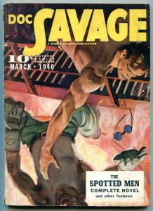 Doc Savage Pulp March 1940- Spotted Men- FN-