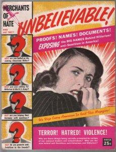 Unbelievable #1 Winter 194pre WWII exploitation-1st issue-Hitler-Nazis-FN