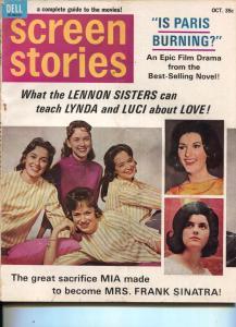 Screen Stories-Lennon Sisters-Charlton Heston-Michael Caine-Lillian Gish-Oct-196