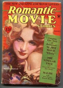 ROMANTIC MOVIE STORIES Jan 1934-Last Pulp issue-Elysia-Rare!