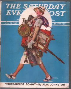 Saturday Evening Post  7/31/1937-Norman Rockwell cover-complete magazine-VG/FN