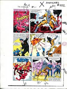 Avengers #222 1982 Hand Painted  Colorguide Page 13-Tiger Shark-VG