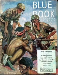 BLUE BOOK PULP-AUG-1944-FN-STOOPS COVERJOEL REEVE-KEYNE-KENNETH PERKINS-fine FN