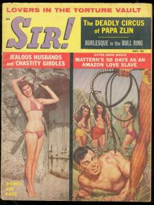 SIR! MAGAZINE NOV '59-WHIPPING COVER-TORTURE VAULT-PULP VG